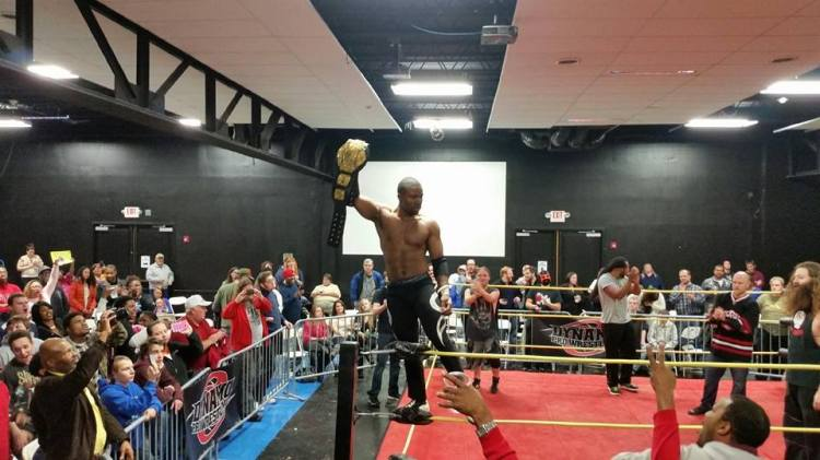 Mike Outlaw celebrates in Fenton after his title victory over Ricky Cruz.  Photo: Patrick Hook